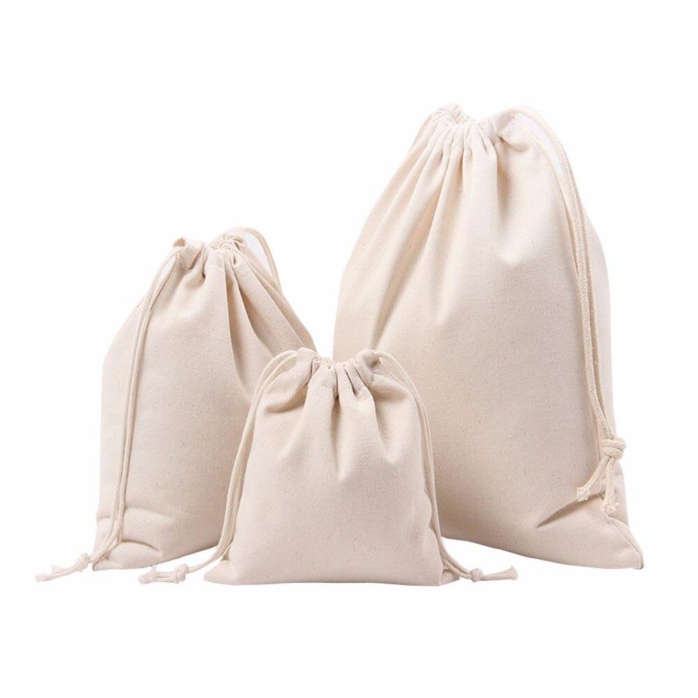 Handmade Cotton Drawstring Bag Men Women Travel Packing Organizer Reusable Shopping Bag Tote Female Luggage Storage