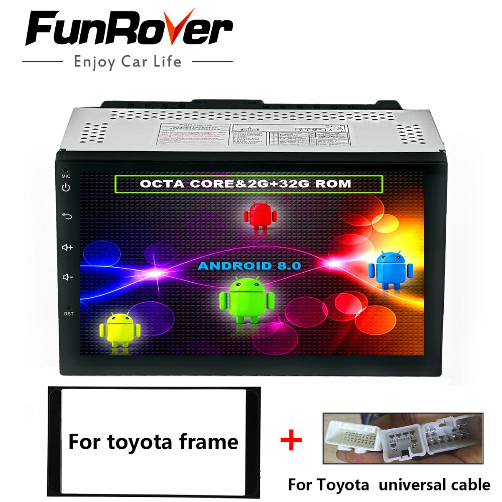 Funrover 8 cores android8.0 2 din Car DVD Player for Toyota Corolla Universal Hilux Vios Old Camry Prado Rav4 Radio gps headunit android 7 1 dvd player for toyota universal rav4 corolla vios hilux terios land cruiser 100 prado 4runner dvr bluetooth rear cam