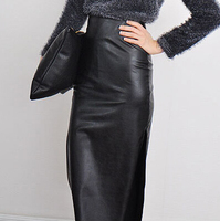 PU Faux Leather Long Pencil Skirt High Waist formal Black Women Ladies winter saias femininas