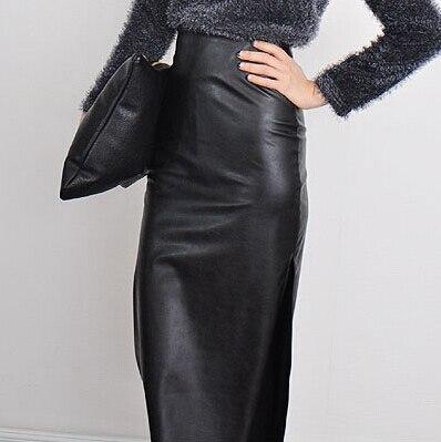 4b9ab811c642 PU Simili Cuir Jupe Crayon Longue Jupe Taille Haute Noir Femmes Dames hiver  aiar femininas dans Jupes de Mode Femme et Accessoires sur AliExpress.com  ...