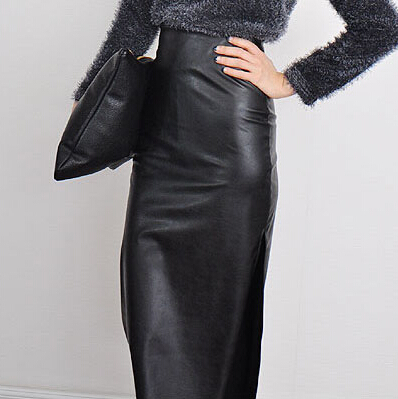 Popular Faux Leather Long Pencil Skirt High Waist-Buy Cheap Faux ...
