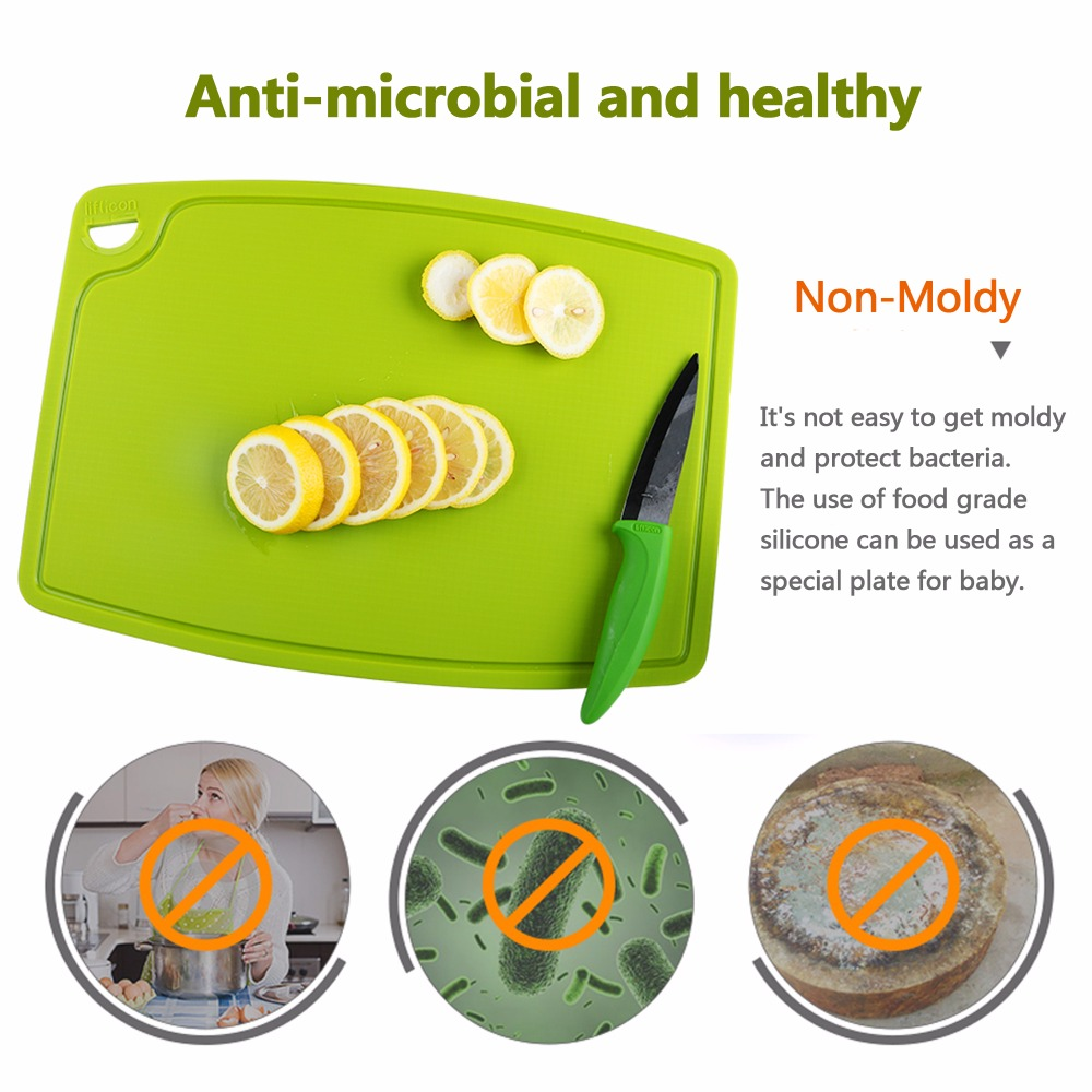 Liflicon Pure Silicone Cutting Boards Healthy Anti microbial Cutting Mats Multifunctional Chopping Board Anti skid Hang Hole in Chopping Blocks from Home Garden