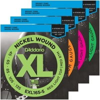 D'Addario 5 String Nickel Wound Bass Guitar Strings, EXL160 5 EXL165 5 EXL170 5 EXL220 5