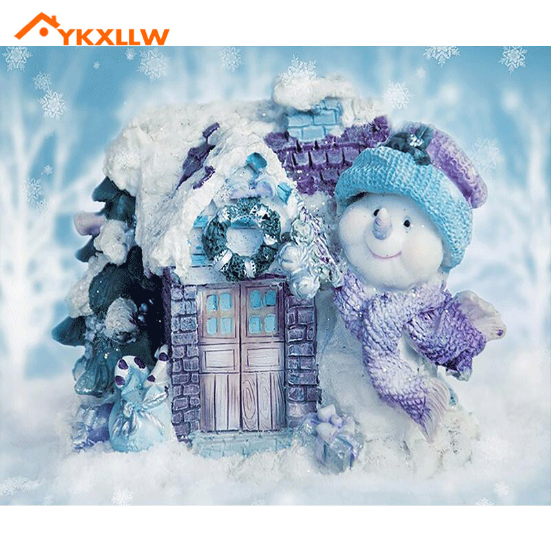 YKXLLW snow man white winter house painting 5d diamond embroidery diamond painting Cross ...