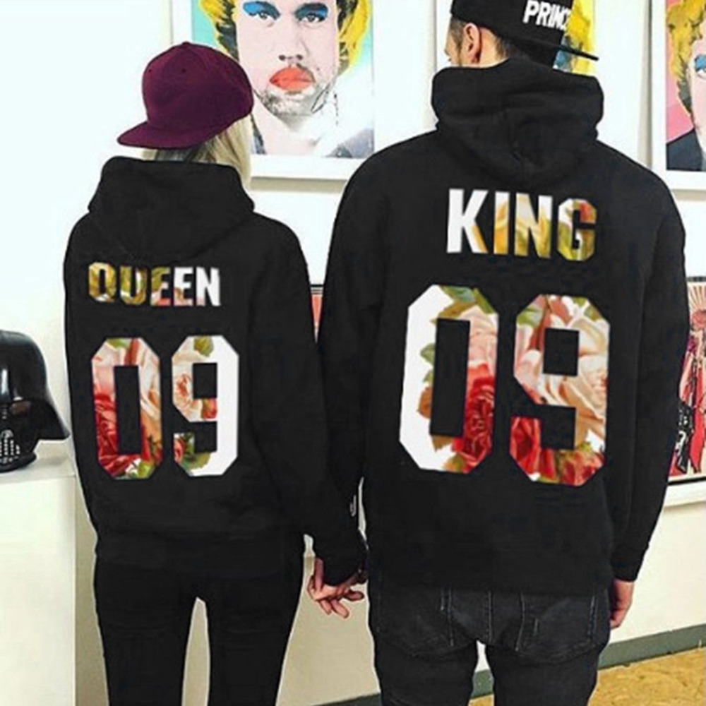 Couples Outwear Lovers Hoodies Sweatshirts QUEEN KING 09 Printed Tops Women Men Black Pullover Hooded Long Sleeve