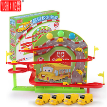 Bus Track Toy Magnetic School Bus Puzzle Music Light Children Assembly Electric Car Kids Toy