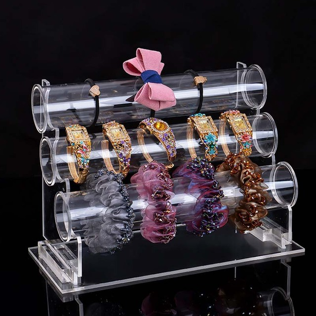 Wholesale Portable Jewelry Display Rack Acrylic Clear Three Tier T