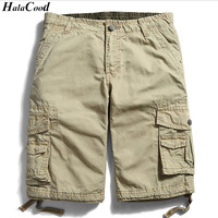HALACOOD Summer Cotton Men Military Shorts Summer Men S Army Cargo Shorts Home Casual Trousers Plus