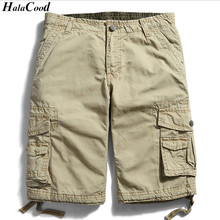 HALACOOD Summer Cotton Men Military Shorts Summer Men's Army Cargo Shorts Home Casual Trousers Plus Size More Bags Overalls Fat