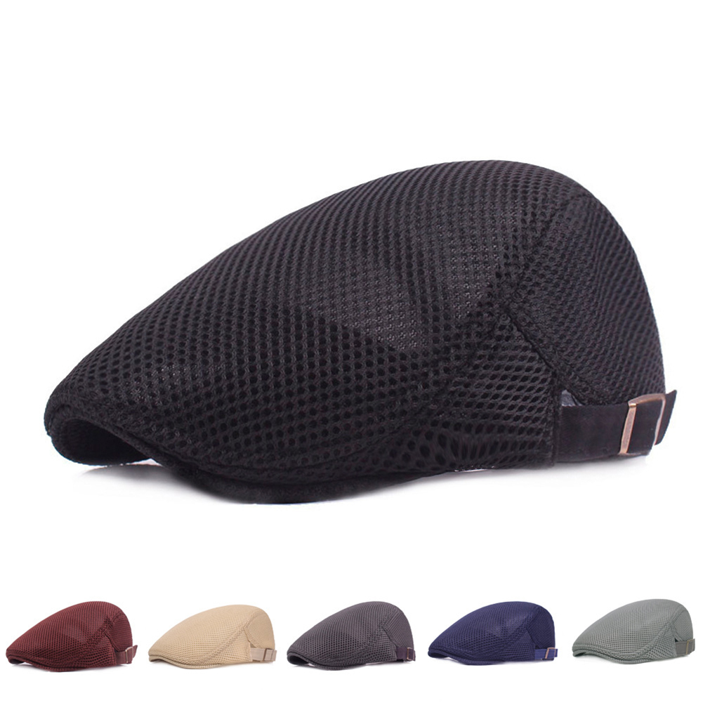 7fb0d296 Fashion Unisex Casual Beret Breathable Solid Mesh Flat Cap Summer ...