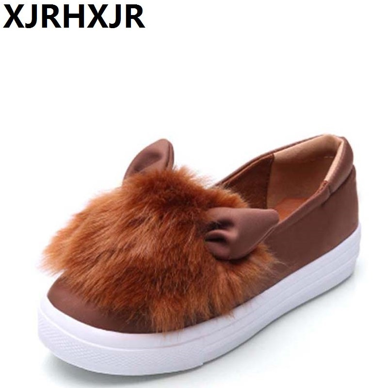 XJRHXJR Wholesale Women Shoes Flats Women Flat Heel Shoes Lazy Shoes Soft Leather Cartoon Rabbit Ears Elastic Cloth Flat Shoes vintage embroidery women flats chinese floral canvas embroidered shoes national old beijing cloth single dance soft flats