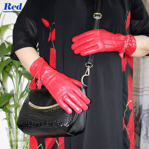 Image 4 - Leather sheepskin gloves womens mid length stripes plus velvet warm autumn and winter windproof free shipping