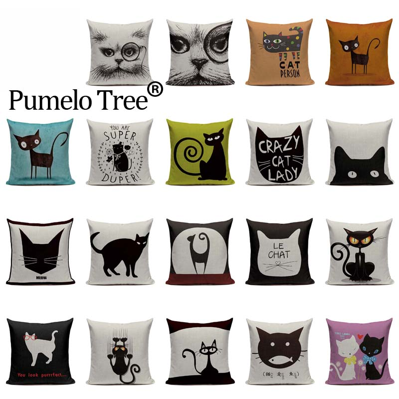 Popular Black Cat Printed Pillowcase Cartoon Sofa Cushion Pillow Cover Decor LA