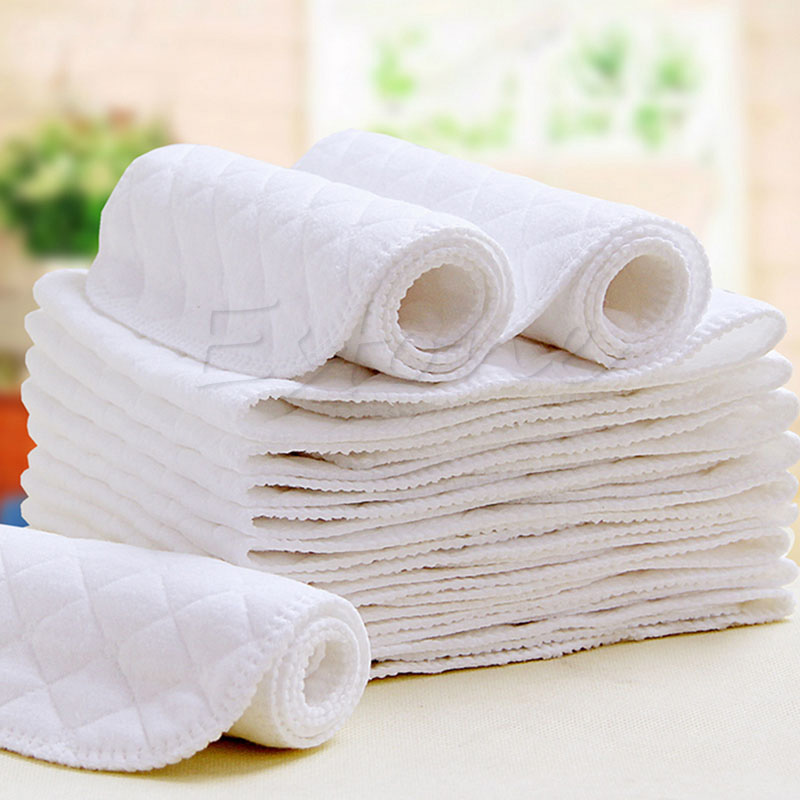 2018 New Reusable Baby Soft Cloth Diaper Liners Insert 3 Layers Cotton Nappy
