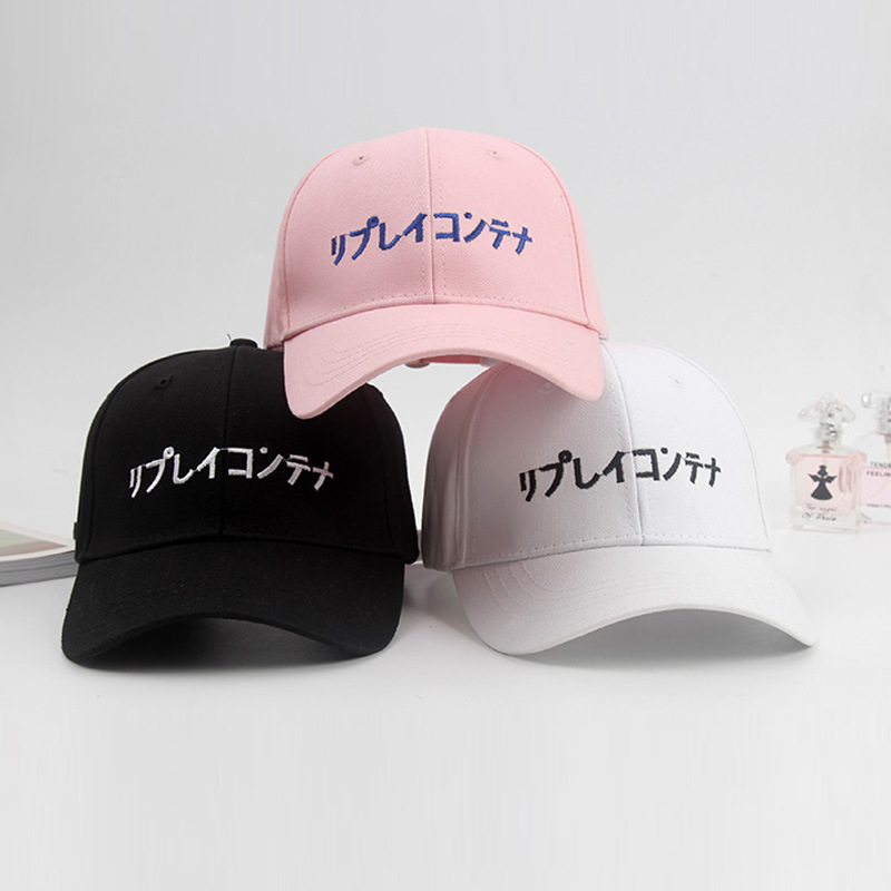 Fashion Japanese Baseball Cap Men Women Harajuku Hip Hop Hat Pink White Black Caps