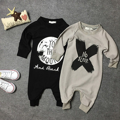 Fashion Baby Girls Boys Cotton Black/Grey Romper Jumpsuit One-piece No Sleep to the Moon Letter Printed Outfits 0-2M the black crowes the black crowes three snakes and one charm 2 lp