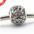 2016 Spring new Beads Fit for Pandora Bracelet 925 Sterling Silver Vintage R, Clear CZ Letter Charms DIY Fine Jewelry LE12015-R
