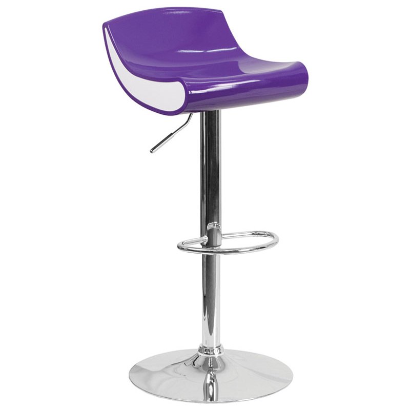 Flash Furniture Contemporary Purple and White Adjustable Height Plastic Barstool with Chrome Base