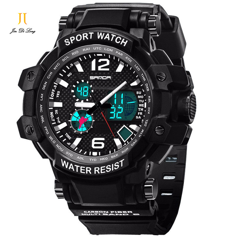2017 New Double Movement Multi-functional Sports Electronic Watch Students Watch Fashion Plate Teenagers Neutral Sport Watches splendid brand new boys girls students time clock electronic digital lcd wrist sport watch
