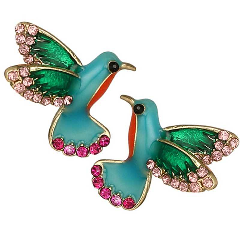 New Three-dimensional Flying Hummingbird Bird Stud Earrings Big Fashion Animal Bird Jewelry For Women Girls
