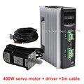 AC220V 400 W-750 W CNC Servomotor Driver + 1.3N.m 2.5A 60mm 400 W AC Servomotor + 3 Mete Kabel voor CNC