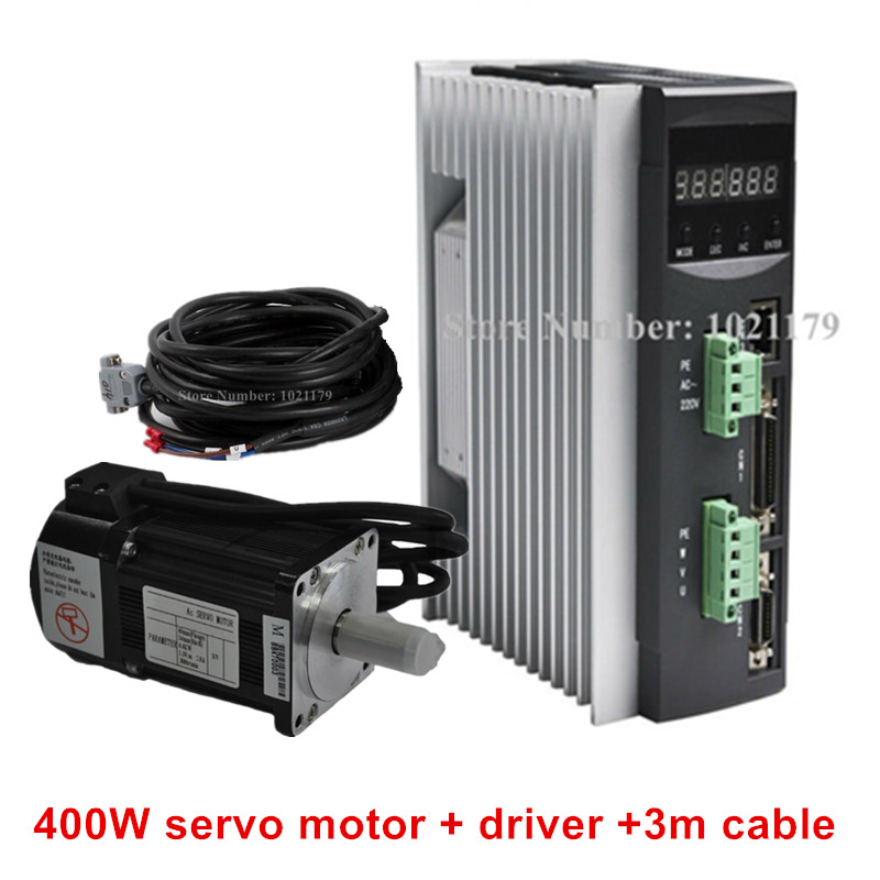 AC220V 400W-750W CNC Servo Motor Driver + 1.3N.m 2.5A 60mm 400W AC Servo Motor + 3 Mete Cable for CNC