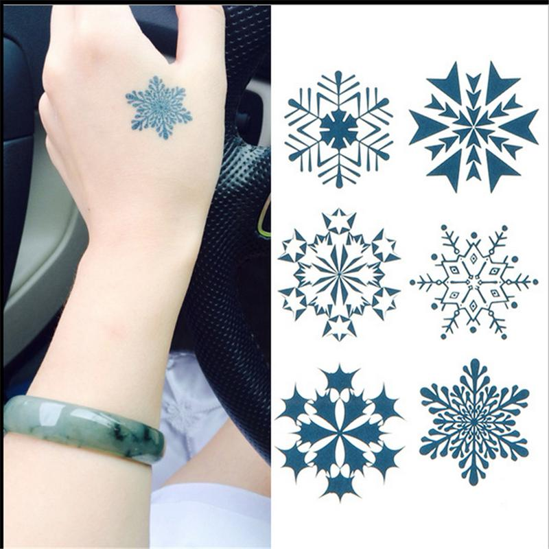 El Nuevo Diseño Del Copo De Nieve Tatuaje Impermeable Etiqueta