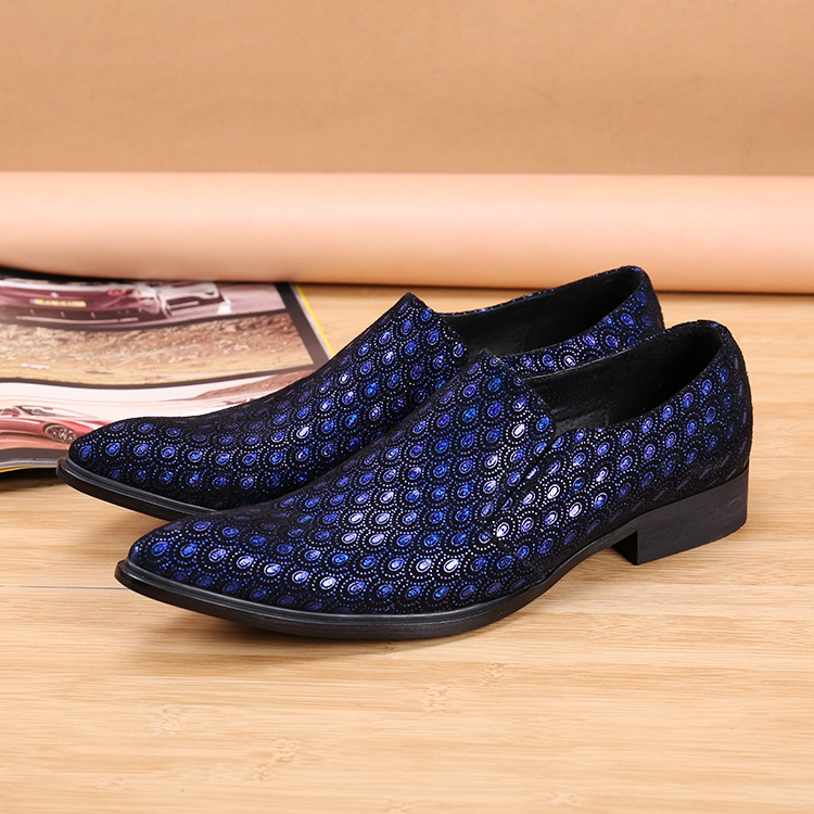 British Style Blue Genuine Leather Breathable Velvet Slip On Loafers Flats Smoking Slippers Pointed Toe Mens Dress Wedding Shoes