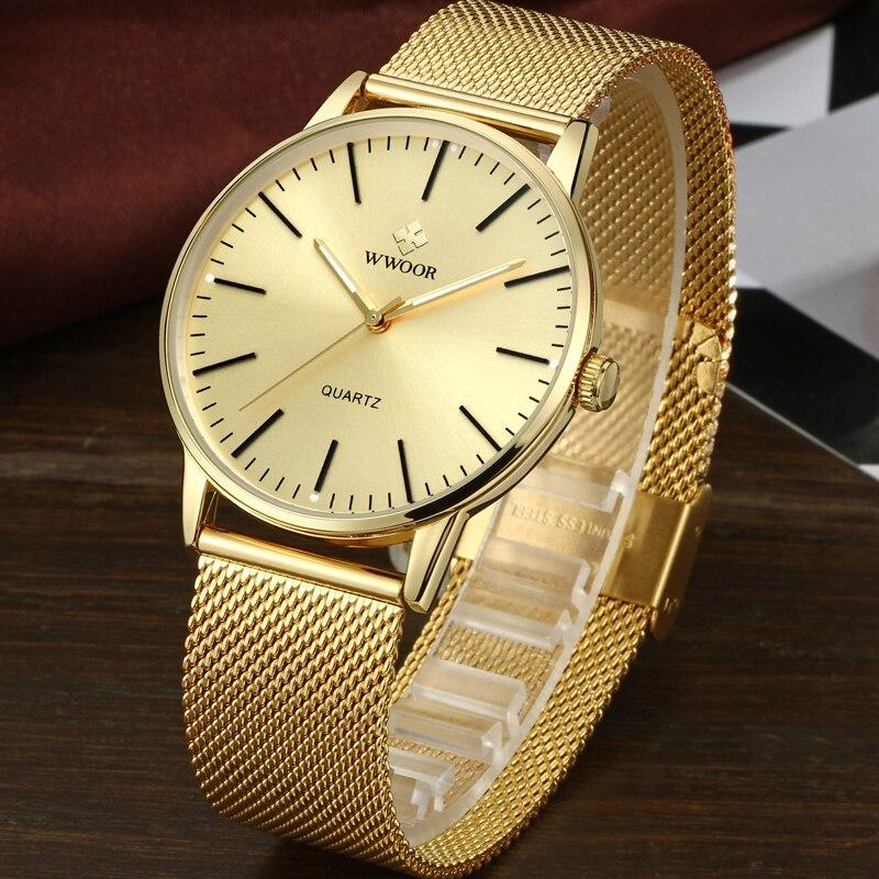 WWOOR Men Simple Slim Quartz Watch Gold Steel Mesh Ultra Thin Men Watches Luxury Brand Waterproof Male Wrist Watch Golden Clock