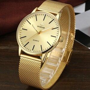 Image 3 - WWOOR Homens Simples Relógio De Quartzo de Ouro Fino Malha Ultra finos Homens de Aço Relógios de Luxo Da Marca À Prova D Água Masculino Relógio de Pulso de Ouro relógio