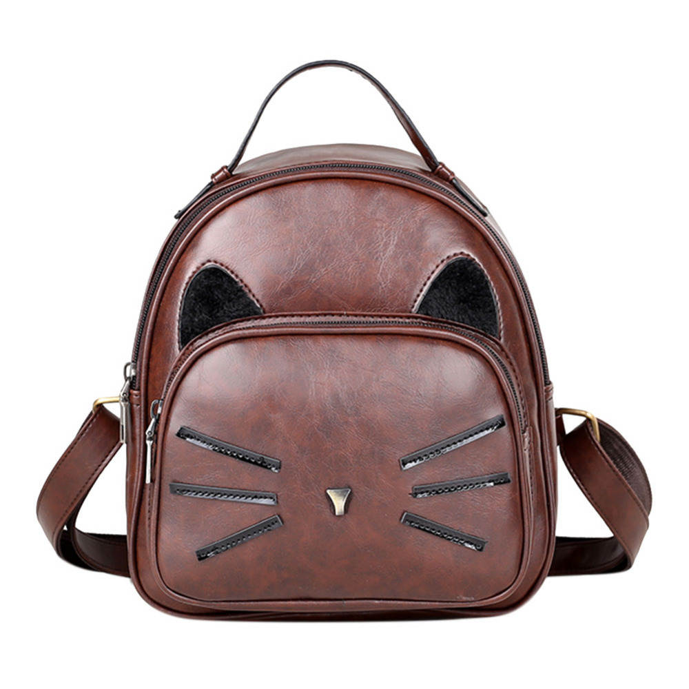 Design Pu Leather Backpack Women For Teenage Girls School Lady's Small Vintage Cat Back Pack Travel Bags #1