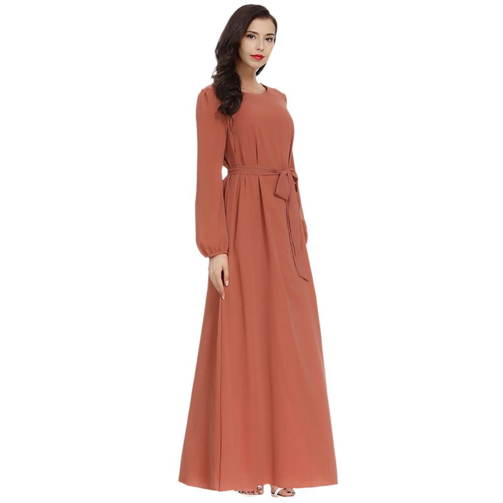 Muslim Dress Dubai Arabic Islam Turkey Womens Dress Islamic Clothing Jilbab Cocktail Long Maxi Dress With Belt Kaftan Abaya Z411