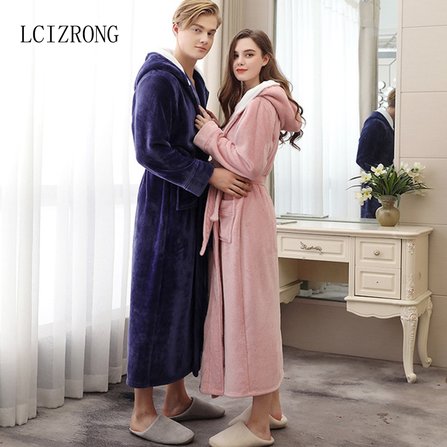Winter Flannel Couple Long Warm Hooded Bathrobe Women/Men Sexy Plus Size Dressing Gown Bridesmaid Robes Sleepwear Female
