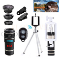 12in1 Fisheye Wide Angle Macro Lentes Microscope 12X Zoom Telephoto Lens Telescope With Selfie Stick Clips Tripod For SmartPhone