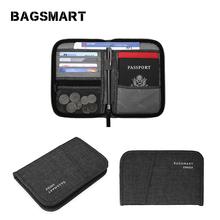 BAGSMART Wielofunkcyjna torba podróżna RFID dla paszportu dowód osobisty karta kredytowa mężczyźni Zipper sprzęgło portfel Travel Organizer torba tanie tanio Akcesoria podróżne Nylon 7 1 cala do 0 15 kg Portfele paszportowe BM0200093A Na BAGSMART 4 7 cala 0 8 cala Stałe