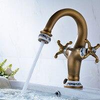 Basin Faucet Blue White Porcelain Luxury Single Hole Double Han Antique Copper Container Sink Faucet Kitchen & Bath Lt091