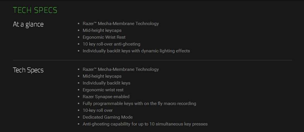Detail Feedback Questions about Razer Ornata Membrane Gaming