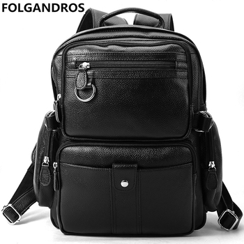 New Large Capacity Genuine Leather Backpacks 2018 Men Top Quality Travel Daypack Classic Casual Cowhide Black School Bags Bolsa