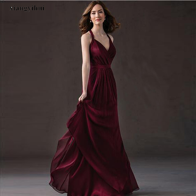 Special Design Straps Bridesmaid Empire Dress Burgandy Chiffon Competitive Price Free Shipping Maid of Honor Dress 2017