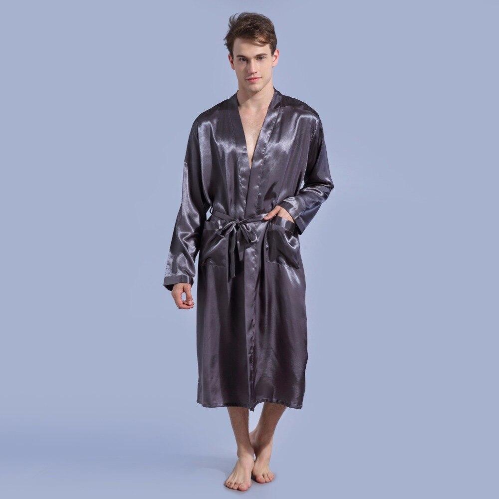 Aliexpress.com   Buy Gray Loose Leisure Men s Rayon Satin Robe Gown Solid  Color Kimono Bathrobe Casual Nightwear Sleepwear Pajamas S M L XL XXL from  ... 472139dad