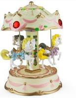 Hot Selling Creative Romantic Carousel Music Boxes Home Boutique Girls Birthday Ornaments Colorful Lights Gifts Qy569