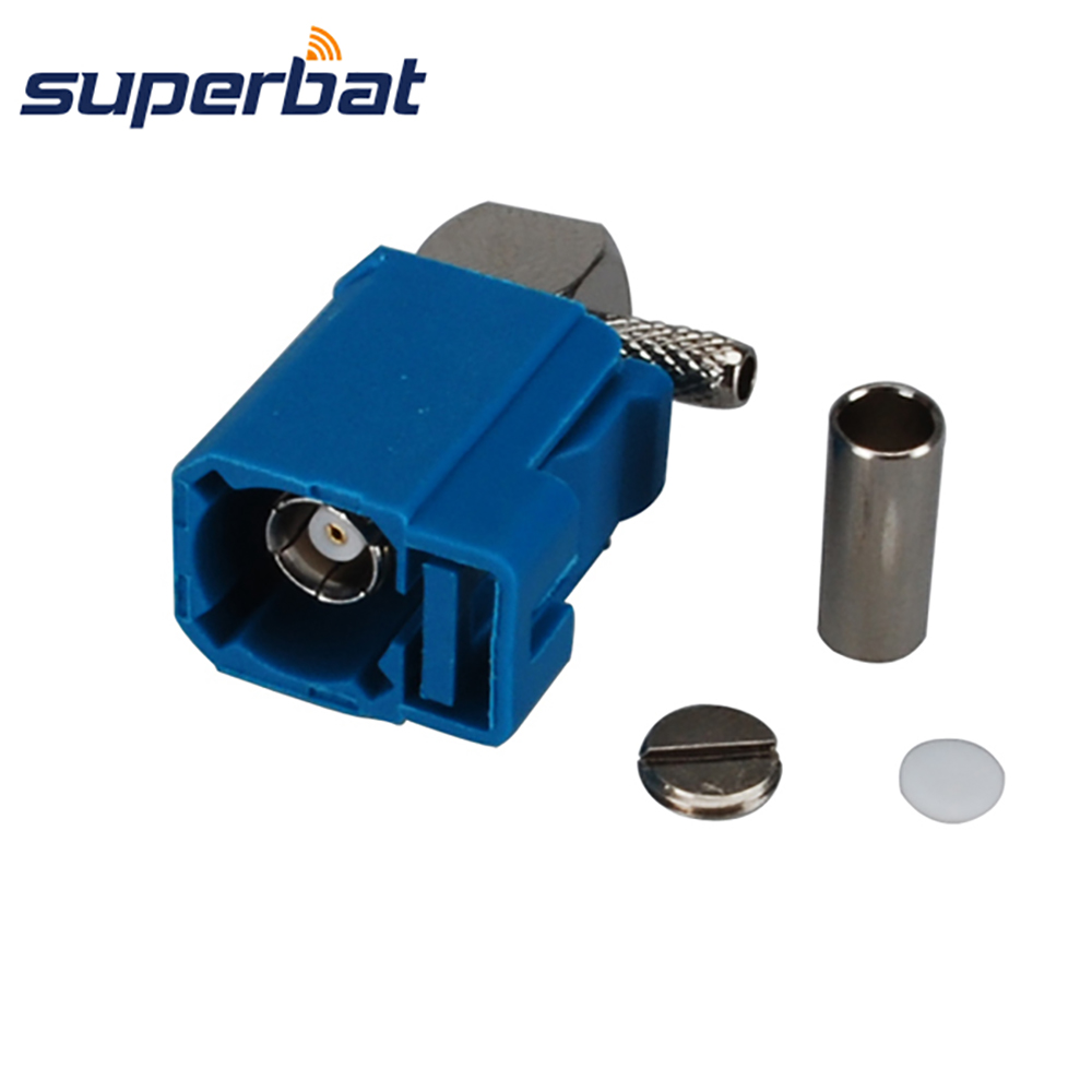 Superbat Fakra Z Waterblue /5021 Female Jack Right Angle Neutral Code Crimp Connector For Coaxial Cable RG316 RG174 LMR100