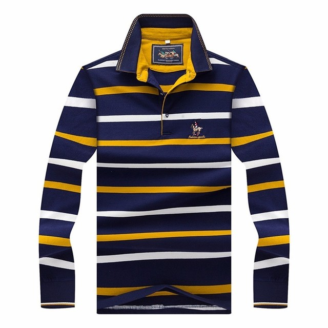 94d07ed251 Man Long Sleeve Polo Shirt 95% Cotton 5% Spandex Spring Autumn Male 2018  Striped Yellow Red Blue Embroidery Men Polo-shirt