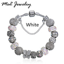 New European Silver Plated Bead Charm Bracelet Beads Fit Women Charm Bracelets & Bangles Jewelry Free Shipping