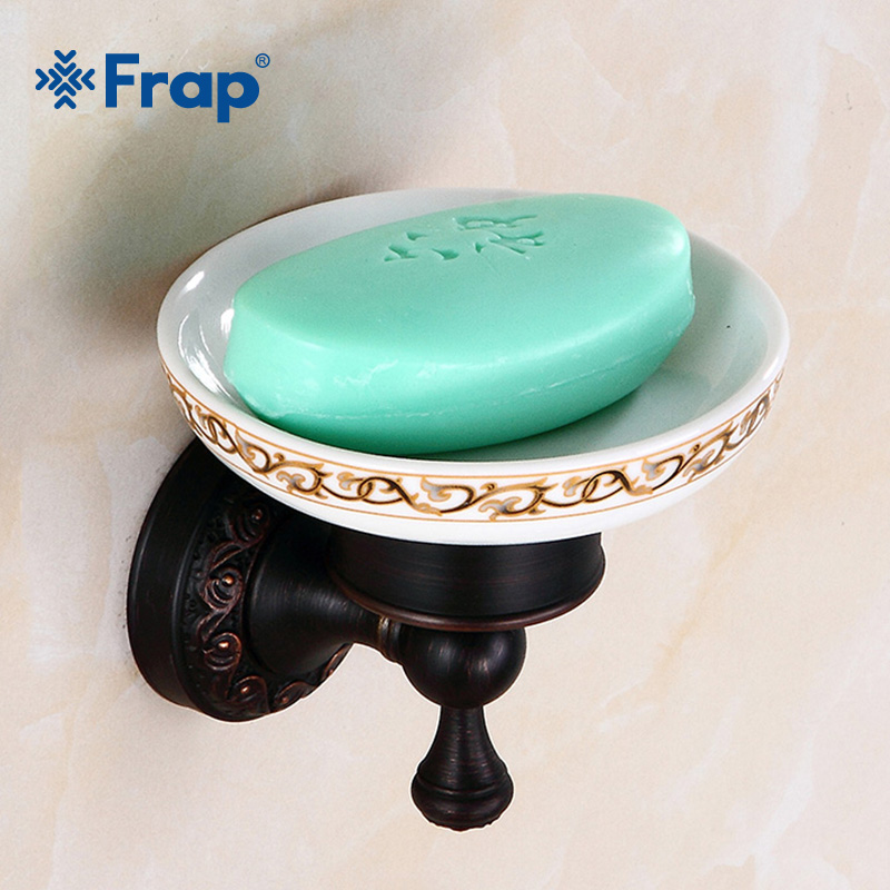 FRAP Antique Wall-mounted Soap Dish Soap Holder Pure Copper Bathroom Soap Basket Ceramic Dish Separable Bath Accessories Y18031 wall mounted plastic soap dish holder
