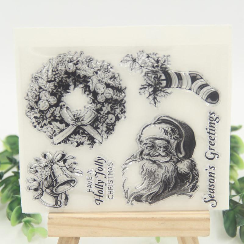 1 sheet DIY Christmas Sock Design Transparent Clear Rubber Stamp Seal Paper Craft Scrapbooking Decoration