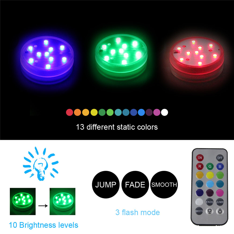 BORUiT 10 LEDs RGB Submersible Lamp with Remote Multi Color IP68 Waterproof Swimming Pool Light for Aquarium Pond Wedding Party