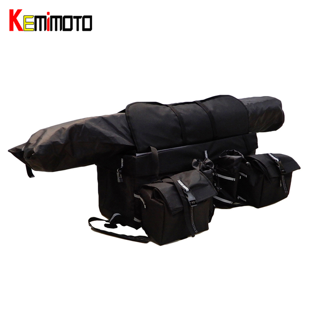 Kemimoto Four Wheels Snowmobile Atv Cargo Rear Rack Gear Bag Luggage Set Foldable Storage