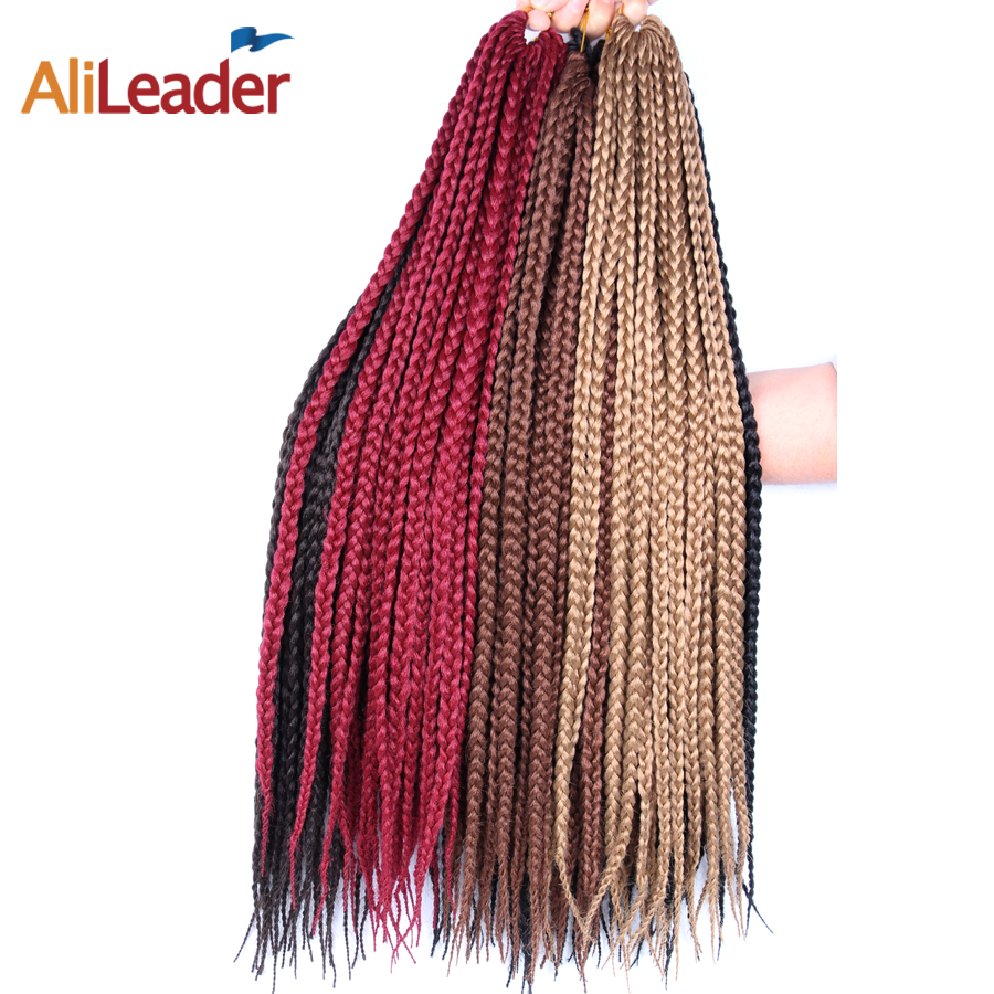AliLeader Products Crotchet Braids Box Braids With Synthetic Hair 12 16 20 24 30 Inch Blonde Brown Burgundy Kanekalon Hair Color