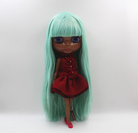 Blyth Doll Light Green Straight Bang Hair Deep Black Body Nude Doll Body 7 Joint Body